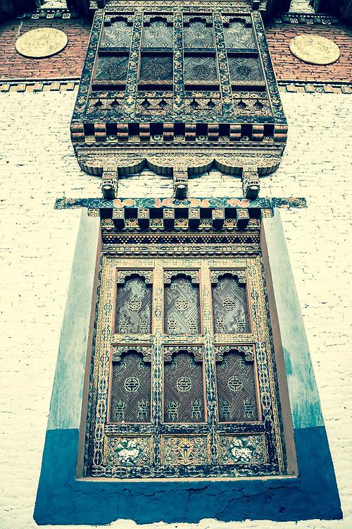 Bhutan. Fortress wall windows.
