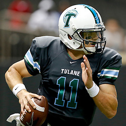 Aug 29, 2013; New Orleans, LA, USA; Tulane Green Wave quarterback Nick Montana (11) against the Jackson State Tigers at the Mercedes-Benz Superdome. Tulane defeated Jackson State 34-7. Mandatory Credit: Derick E. Hingle-USA TODAY Sports