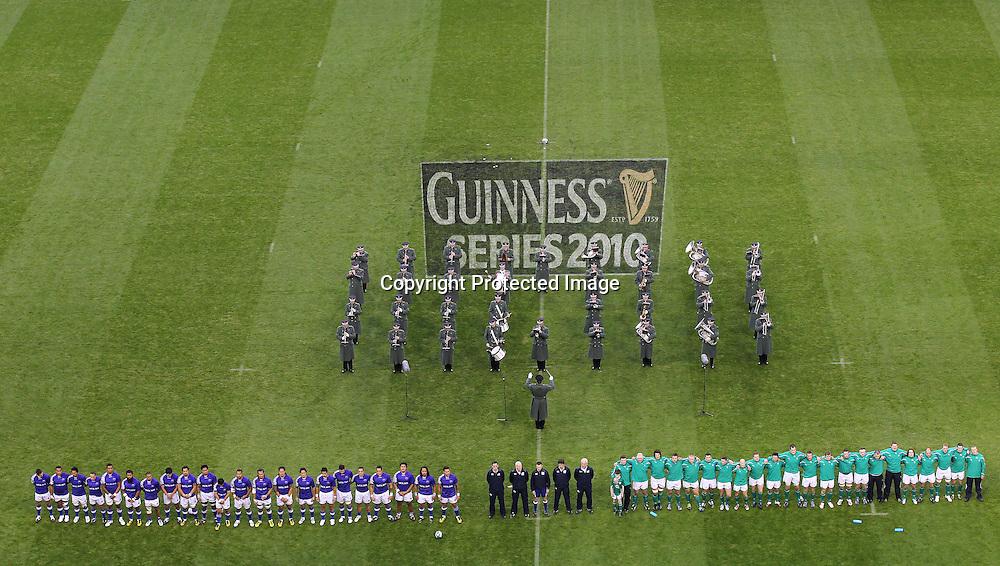Guinness Autumn Series International, Aviva Stadium, Dublin 13/11/2010<br />Ireland vs Samoa<br />Samoa and Ireland line up<br />Mandatory Credit &copy;INPHO/Billy Stickland *** Local Caption ***