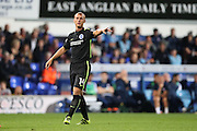 Brighton & Hove Albion central midfielder Steve Sidwell (14) during the EFL Sky Bet Championship match between Ipswich Town and Brighton and Hove Albion at Portman Road, Ipswich, England on 27 September 2016.