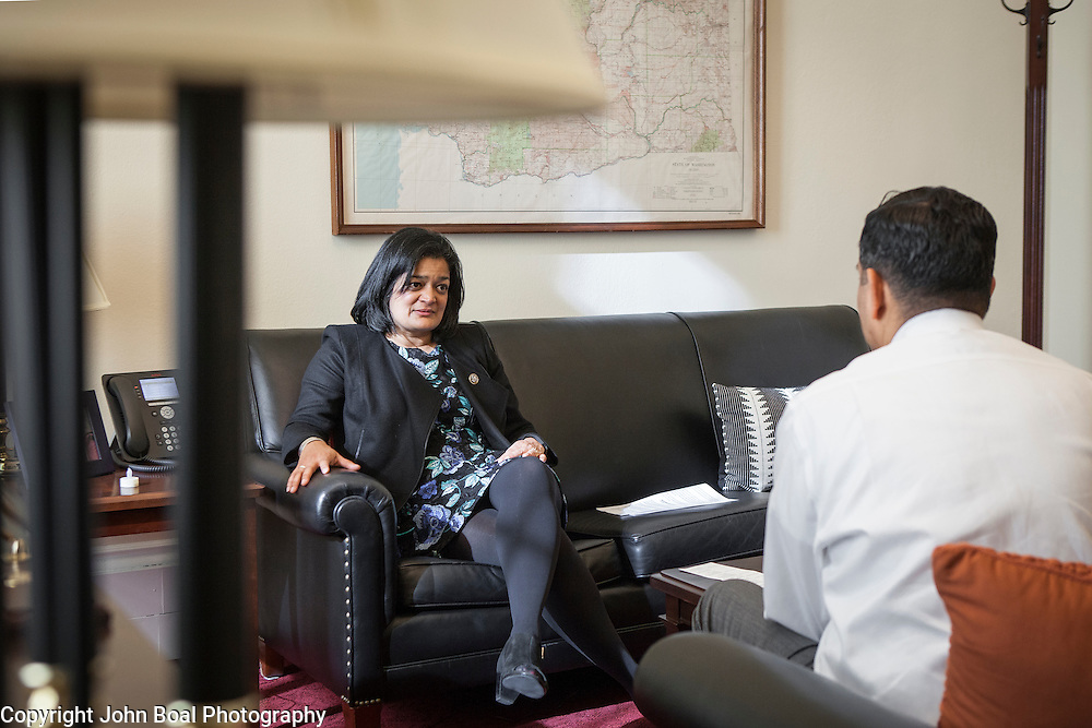 Representative Pramila Jayapal (D-WA, 7) meets in her Congressional office, with her Deputy Chief of Staff, Ven Neralla, on Tuesday, January 31, 2017.  Much of the day was spent discussing the executive order restricting entry into the United States from 7 Muslim-majority countries.  John Boal photo/for The Stranger