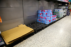© Licensed to London News Pictures. 03/03/2020. London, UK. A Morrisons supermarket store in London run low on bottles of drinking water amid increased number of cases of Coronavirus (COVID-19) in the UK. Fifty one people have tested positive of Coronavirus in the UK and Prime Minister Boris Johnson has set out the Government's plans to tackle Coronavirus (Covid-19). Photo credit: Dinendra Haria/LNP
