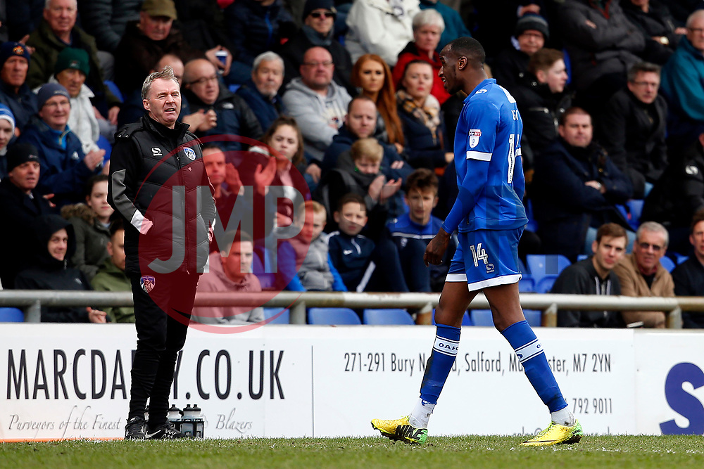 Oldham Athletic manager John Sheridan reacts as Michael Ngoo leaves the field after receiving a red card - Mandatory by-line: Matt McNulty/JMP - 15/04/2017 - FOOTBALL - Boundary Park - Oldham, England - Oldham Athletic v Bolton Wanderers - Sky Bet League 1