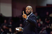 Alcorn State Braves head coach Montez Robinson during the first half of a NCAA college basketball game against the Vanderbilt Commodores in Nashville, Tenn., Friday, Nov 16, 2018. (Jim Brown/Image of Sport)