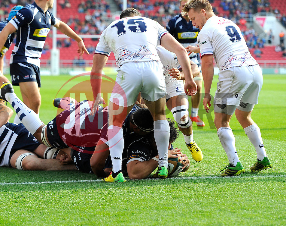 Bristol Rugby Prop Gaston Cortes forces his way through to score a try  - Mandatory byline: Joe Meredith/JMP - 07966386802 - 04/10/2015 - RUGBY - Ashton Gate -Bristol,England - Bristol Rugby v Rotherham Titans - Greene King IPA Championship
