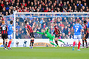 AFC Bournemouth goalkeeper Adam Federici dives to cover a Portsmouth shot during the The FA Cup fourth round match between Portsmouth and Bournemouth at Fratton Park, Portsmouth, England on 30 January 2016. Photo by Graham Hunt.