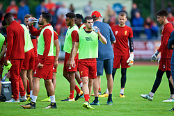 ROTTACH-EGERN, GERMANY - Friday, July 28, 2017: Liverpool's Jon Flanagan drinks water during a training session at FC Rottach-Egern on day three of the preseason training camp in Germany. (Pic by David Rawcliffe/Propaganda)