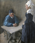 Hiring a Servant'. Oil on canvas. Mihaly Munkacsky (1844-1900) Hungarian painter. Blue Grey White Man Woman Table