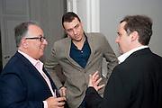 SIMON MORDANT; OLIVIER VARENNE; GREGOR MUIR, MCA Sydney cocktails. Brandon rooms. ICA. London. 11 October 2011. <br /> <br />  , -DO NOT ARCHIVE-© Copyright Photograph by Dafydd Jones. 248 Clapham Rd. London SW9 0PZ. Tel 0207 820 0771. www.dafjones.com.