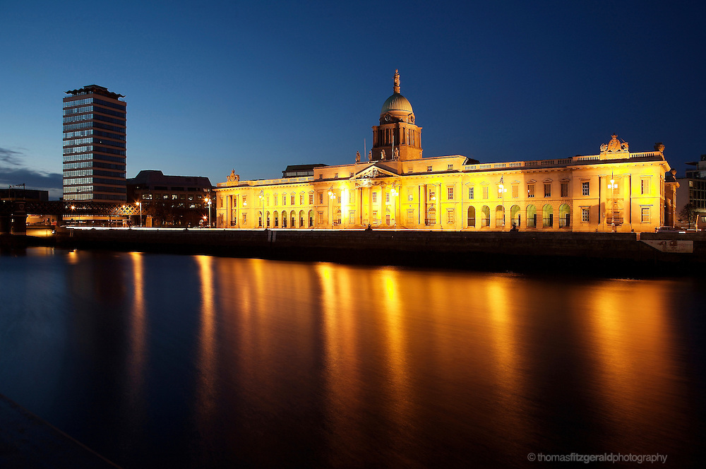 The Famous Dublin Customs House at Night With Light Trails from the Passing Traffic