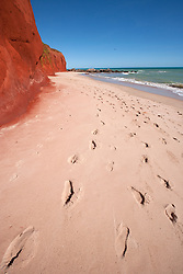 Footprints in the sand at James Price Point, 60km north of Broome