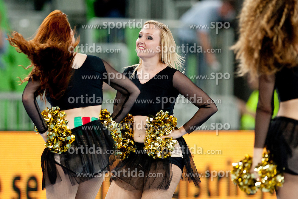 Ladies dance team at handball match between National teams of Slovenia and Portugal of Qualifications for World Cup 2013, on June 9, 2012 in Arena Stozice, Ljubljana, Slovenia. (Photo By Urban Urbanc / Sportida.com)