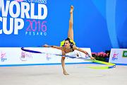 Ashram Linoy during qualifying at ribbon in Pesaro World Cup at Adriatic Arena on April 02, 2016. Linoy  is an Isrlaelian rhythmic gymnastics athlete born on May 13,1999 in Tel Aviv.