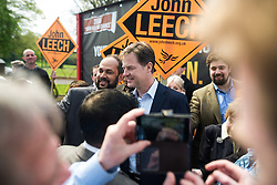 © Licensed to London News Pictures . 01/05/2015 . Manchester , UK . Nick Clegg poses for photos with party supporters after a Liberal Democrat party rally at Chorlton-cum-Hardy Golf Club . Liberal Democrat party leader Nick Clegg visits the constituency of Manchester Withington to deliver a speech on the NHS and campaign with local candidate John Leech . Photo credit : Joel Goodman/LNP