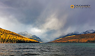 Stormy weather over Bowman Lake in autumn in Glacier National Park, Montana, USA