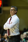 San Francisco Dons head coach Kyle Smith coaches from the sidelines as the San Francisco Dons host the San Francisco State University Gators at Kezar Pavilion in San Francisco, Calif., on December 6, 2016. (Stan Olszewski/Special to S.F. Examiner)