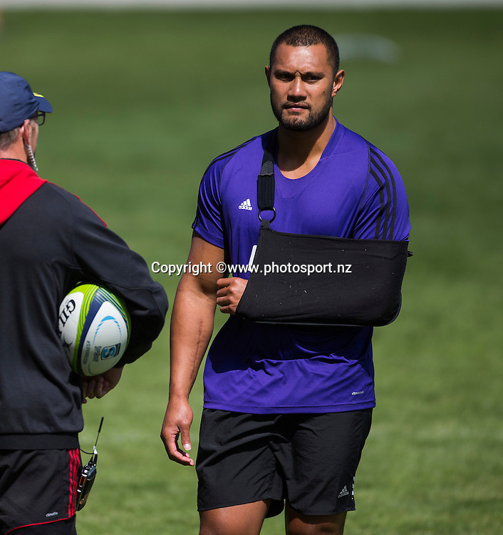 Robbie Fruean of the Crusaders watching on during Crusaders Training before the Super Rugby season held at Rugby Park. 14 January 2016. Photo: Joseph Johnson / www.photosport.nz