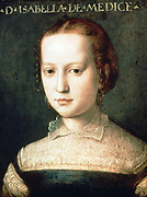 Isabella Romola de'Medici (1542-1576) daughter of Cosimo I de'Medici. Head and sholders portrait by Agnolo de Cosimo (1503-1572) called Il Bronzino. Strangled on orders of her hushand, Paolo Giordano Orsini.