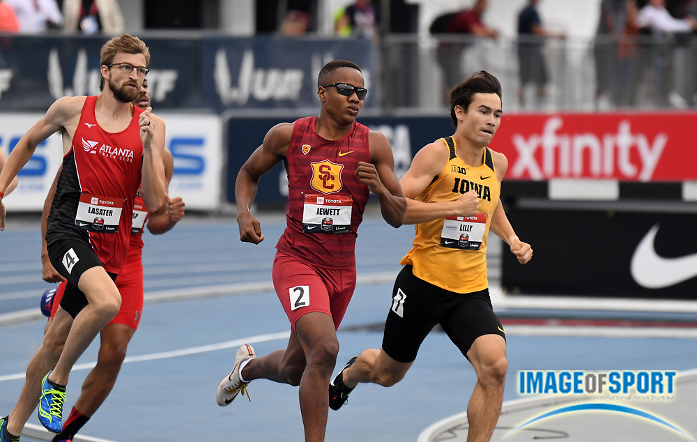 Jul 25, 2019; Des Moines, IA, USA; Brandon Lasater (left), Isaiah Jewitt of Southern California (center) and Carter Lilly of Iowa run in an 800m heat during the USATF Championships at Drake Stadium.