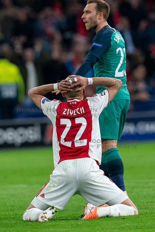 08-05-2019 NED: Semi Final Champions League AFC Ajax - Tottenham Hotspur, Amsterdam<br /> After a dramatic ending, Ajax has not been able to reach the final of the Champions League. In the final second Tottenham Hotspur scored 3-2 / Hakim Ziyech #22 of Ajax, Christian Eriksen #23 of Tottenham Hotspur