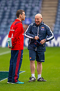 Richard Cockerill, Head Coach of Edinburgh Rugby (right) shares a joke with with Munster head coach Johann van Graan before the Heineken Champions Cup quarter-final match between Edinburgh Rugby and Munster Rugby at BT Murrayfield Stadium, Edinburgh, Scotland on 30 March 2019.