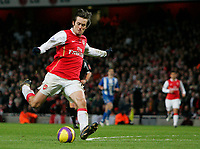 Photo: Tom Dulat/Sportsbeat Images.<br /> <br /> Arsenal v Wigan Athletic. The FA Barclays Premiership. 24/11/2007.<br /> <br /> Tomas Rosicky of Arsenal scores second goal of the game. Arsenal leads 2-0