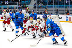 Yevgeni Lisovets of Belarus and Yevgeni Ymarev of Kazakhstan during ice hockey match between Kazakhstan and Belarus at IIHF World Championship DIV. I Group A Kazakhstan 2019, on May 4, 2019 in Barys Arena, Nur-Sultan, Kazakhstan. Photo by Matic Klansek Velej / Sportida