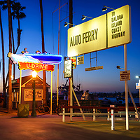 Balboa Island Auto Ferry sign at sunset in Newport Beach California. The auto ferry carries passengers from Balboa Peninsula to Balboa Island in Orange County Southern California. Photo is high resolution. Copyright ⓒ 2017 Paul Velgos with All Rights Reserved.