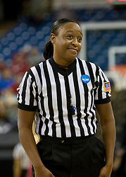 March 29, 2010; Sacramento, CA, USA; NCAA referee Felicia Grinter during the second half of the game between the Stanford Cardinal and the Xavier Musketeers in the finals of the Sacramental regional in the 2010 NCAA womens basketball tournament at ARCO Arena. Stanford defeated Xavier 55-53.