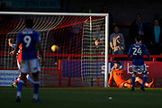 Goal, Lewis Young of Crawley Town scores, Crawley Town 1-1 Macclesfield Town during the EFL Sky Bet League 2 match between Crawley Town and Macclesfield Town at The People's Pension Stadium, Crawley, England on 23 February 2019.