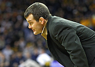 January 29, 2010: Iowa head coach Tom Brands watches the action in the 157-pound bout at Carver-Hawkeye Arena in Iowa City, Iowa on January 29, 2010. Kerr won the match 4-2 and Iowa defeated Penn State 29-6.