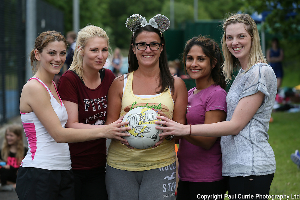 Pictures show the Netball Tournament in aid of Emma Grandson who died of cancer<br /> Pictures l to r, Natalie Jaques, Chantelle Mason, Sarah Stothert, Asma Khan and Alicia Stothert<br /> 07796 146931<br /> www.paulcurriephotos.com