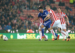 Diego Costa of Chelsea beats past Charlie Adam of Stoke City - Mandatory byline: Alex James/JMP - 07966 386802 - 27/10/2015 - FOOTBALL - Britannia Stadium - Stoke, England - Stoke City v Chelsea - Capital One Cup