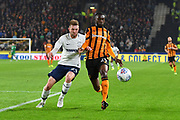 Hull City defender Fikayo Tomori (29) and Preston North End forward Tom Barkhuizen (29) during the EFL Sky Bet Championship match between Hull City and Preston North End at the KCOM Stadium, Kingston upon Hull, England on 26 September 2017. Photo by Ian Lyall.