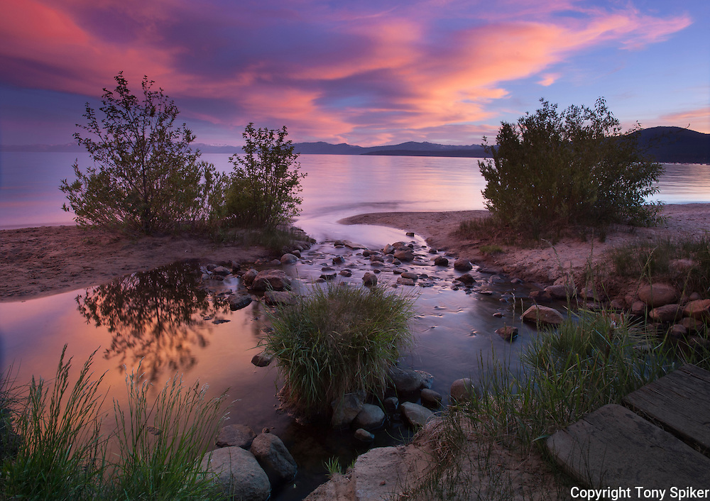 """Kings Beach Sunset at Griff Creek 3"" - This photograph was taken at sunset where Griff Creek flows into Lake Tahoe at Secline Beach"