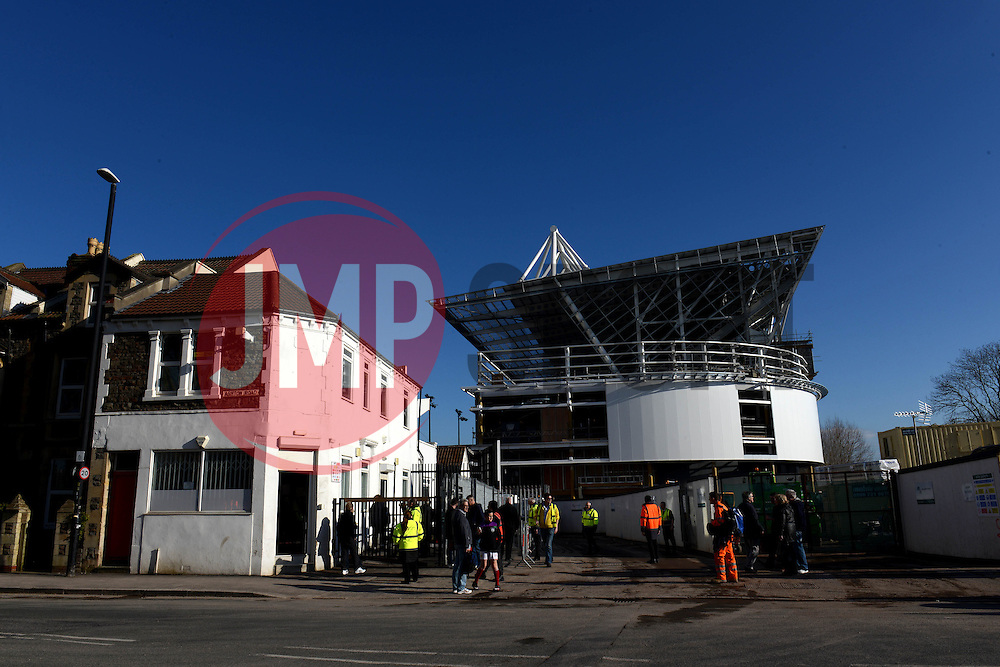A general view of Ashton Gate Stadium from Ashton Road - Mandatory by-line: Dougie Allward/JMP - 05/04/2016 - FOOTBALL - Ashton Gate Stadium - Bristol, England - Bristol City v Rotherham United - Sky Bet Championship