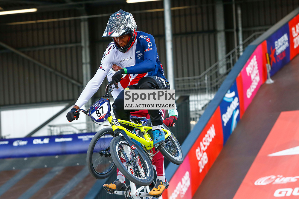 Kye Whyte gets a flyer out of the gates during the heats of the BMX European Championships in Glasgow.