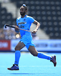 India's Sardar Singh during the Men's World Hockey League match at Lee Valley Hockey Centre, London.