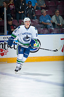 PENTICTON, CANADA - SEPTEMBER 10:  Jakob Stukel #34 of Vancouver Canucks warms up against the Calgary Flameson September 10, 2017 at the South Okanagan Event Centre in Penticton, British Columbia, Canada.  (Photo by Marissa Baecker/Shoot the Breeze)  *** Local Caption ***