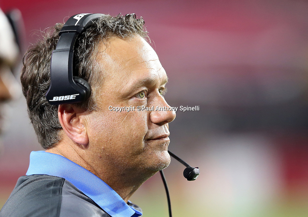 San Diego Chargers defensive coordinator John Pagano looks on from the sideline during the 2015 NFL preseason football game against the Arizona Cardinals on Saturday, Aug. 22, 2015 in Glendale, Ariz. The Chargers won the game 22-19. (©Paul Anthony Spinelli)