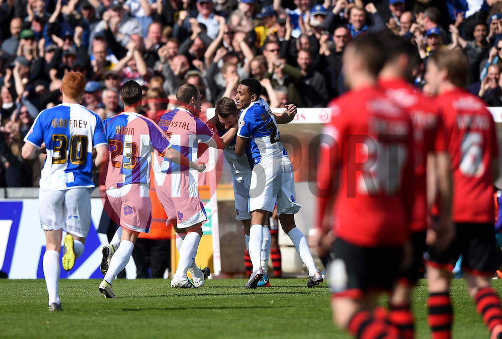 Lee Brown of Bristol Rovers celebrates his goal with team mates   - Mandatory by-line: Joe Meredith/JMP - 23/04/2016 - FOOTBALL - Memorial Stadium - Bristol, England - Bristol Rovers v Exeter City - Sky Bet League Two
