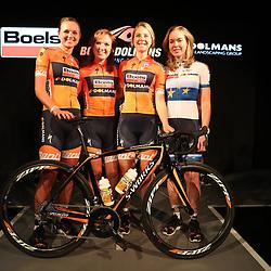 19-01-2017: Wielrennen: Persmoment Boels Dolmans: Valkenburg   <br />VALKENBURG (NED) wielrennen<br />In Chateau Sint Gerlach waar de groten der aarde overnachten presenteerde het Boels-Dolmans Womens Cyclingteam zich aan pers en genodigden. De Nederlandse inbreng vlnr Chantal Blaak, Amy Pieters, Jip van den Bos, Anna van der Breggen
