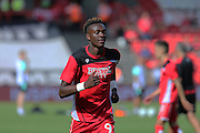 Bristol Tammy Abraham (9) warming up before the EFL Sky Bet Championship match between Bristol City and Derby County at Ashton Gate, Bristol, England on 17 September 2016. Photo by Gary Learmonth.
