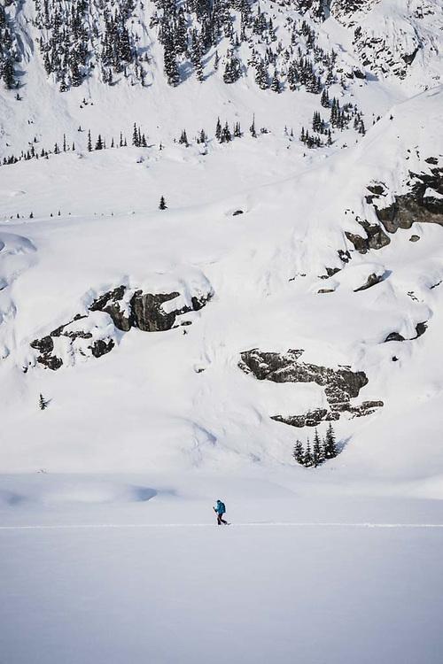 Emily Bodner skinning the flats, Howson Range, British Columbia.