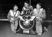 Ivan Mauger and Barry Briggs celebrate winning the European World Speedway Champs, 1966. Photo: PHOTOSPORT