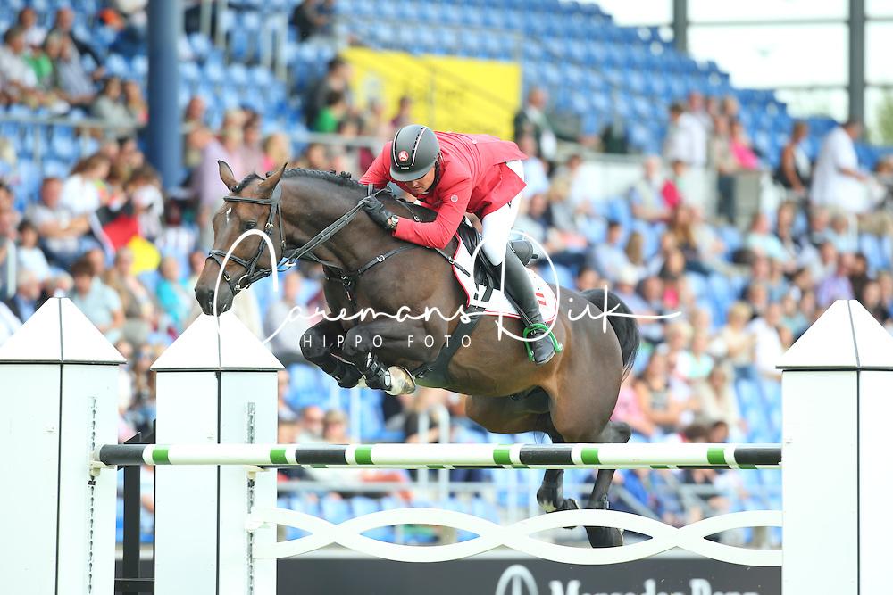 K&ouml;fler Dieter, (AUT), Emir van het Moleneind<br /> Team Competition round 1 and Individual Competition round 1<br /> FEI European Championships - Aachen 2015<br /> &copy; Hippo Foto - Stefan Lafrentz<br /> 19/08/15