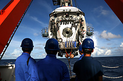 June 11, 2017 - Western Pacific Ocean - Manned submersible Jiaolong is put into the sea to conduct its dive in Yap Trench a section of Mariana Trench. Jiaolong completed its 151th dive on Sunday. (Credit Image: © Liu Shiping/Xinhua via ZUMA Wire)