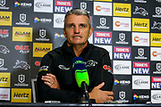 Ivan Cleary at the post-match press conference .Penrith Panthers v Vodafone Warriors. NRL Rugby League. Penrith Stadium, Sydney, Australia. 17th May 2019. Copyright Photo: David Neilson / www.photosport.nz