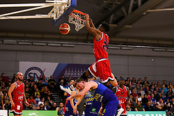 Marcus Delpeche of Bristol Flyers slam dunks - Photo mandatory by-line: Robbie Stephenson/JMP - 29/03/2019 - BASKETBALL - English Institute of Sport - Sheffield, England - Sheffield Sharks v Bristol Flyers - British Basketball League Championship