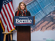 09 NOVEMBER 2019 - DES MOINES, IOWA: Climate activist and author NAOMI KLEIN speaks at a climate change town hall organized by the presidential campaign of Senator Bernie Sanders. Sanders and Rep. Congresswoman Alexandria Ocasio-Cortez (D-NY), hosted a town hall on climate change at Drake University in Des Moines. More than 2,000 people attended the event. Sanders, an independent, is running to be the Democratic nominee for the 2020 US Presidential election. Iowa holds the first in the country selection contest with state caucuses on Feb. 3, 2020.               PHOTO BY JACK KURTZ
